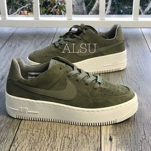 Nike Air Force 1 Sage Low Suede Olive Green WMNS